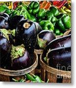 Food - Farm Fresh - Eggplant And Peppers Metal Print