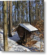 Food Point For Animals In Winterly Forest Metal Print by Matthias Hauser
