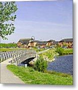 Foot-bridge And Lake - Barton Marina Metal Print