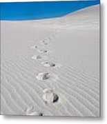 Foot Prints In White Sands 2 Metal Print