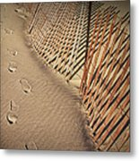 Footprints On The Beach Along A Fence Metal Print