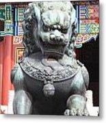 Forbidden City Lion Guardian Metal Print