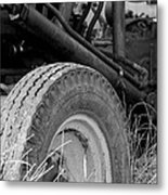 Ford Tractor Details In Black And White Metal Print