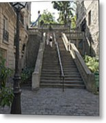 Foreshortening Of Montmartre With Street Lamp And Staircase Metal Print