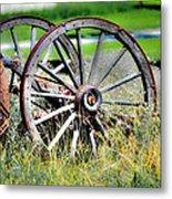 Forgotten Wagon Wheel Metal Print by Sarai Rachel