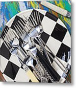 Forks On Checker Plate Metal Print