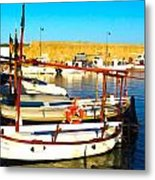 Fornells Harbour Metal Print