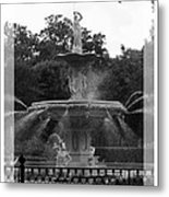Forsyth Park Fountain - Black And White Metal Print