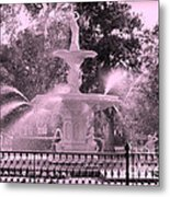 Forsyth Park Fountain In Pink Metal Print