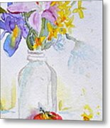 Forsythia And Ghost Daisies Metal Print