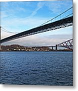 Forth Road Bridge And Forth Rail Bridge Metal Print