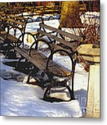 Fountain And Benches In Snow Metal Print
