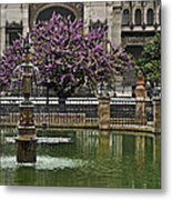 Fountain And Tree Metal Print