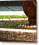 Fountain With Painted Effect Metal Print