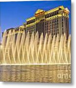 Fountains Of Bellagio In Front Of Caesar's Palace Hotel And Casi Metal Print