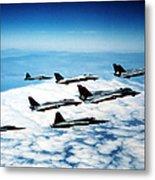 Four F-14 Tomcats And Three F-5 Tiger Metal Print