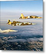 Four F-5 Tiger IIs Fly Above Southern Metal Print