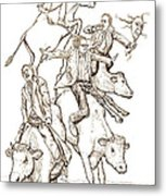 Four Mad Cowboys Of The Apocalypse Metal Print