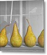 Four Pears On Windowsill Metal Print