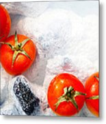 Four Red Tomatos  Metal Print