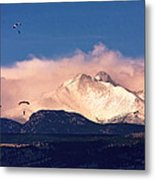 Four Skydivers With Longs Peak And Mount Meeker Rocky Mountain H Metal Print