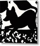 Fox At Night In Clover Patch Metal Print