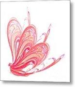 Fractal - Red Flow Metal Print