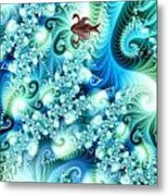 Fractal And Swan Metal Print by Odon Czintos