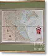 Framed Plymouth Bay With Lighthouse Tile Set Metal Print