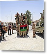 Free Libyan Army Troops Pose Metal Print by Andrew Chittock