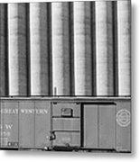 Freight Car And Grain Elevators Metal Print