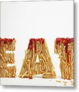 French Fries Molded To Make The Word Fat Metal Print