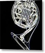 French Horn Color Photo Drawing Metal Print