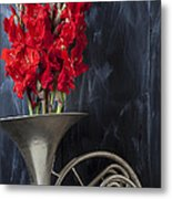 French Horn With Gladiolus Metal Print