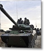 French Marines Lead A Convoy Of Combat Metal Print