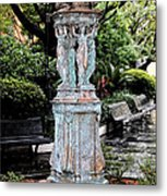 French Quarter Courtyard Statue New Orleans Ink Outlines Digital Art Metal Print