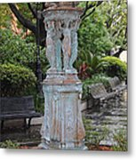 French Quarter Courtyard Statue New Orleans Metal Print