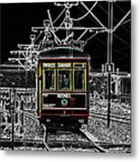 French Quarter French Market Cable Car New Orleans Color Splash Black And White With Glowing Edges Metal Print