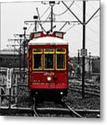 French Quarter French Market Cable Car New Orleans Color Splash Black And White With Watercolor Metal Print