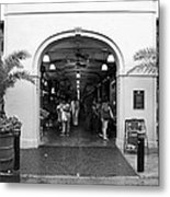 French Quarter French Market Entrance New Orleans Black And White Metal Print