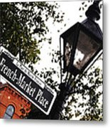 French Quarter French Market Street Sign New Orleans Diffuse Glow Digital Art Metal Print