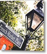 French Quarter French Market Street Sign New Orleans Film Grain Digital Art Metal Print