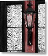 French Quarter Gas Lamp With Red Metal Print