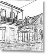 French Quarter Tavern Architecture New Orleans Black And White Photocopy Digital Art Metal Print