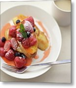French Toast And Strawberries Source Metal Print