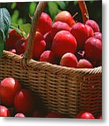 Fresh Red Plums In The Basket Metal Print