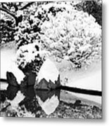Fresh Snow And Reflections In A Japanese Garden 1 Metal Print