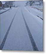 Fresh Tire Tracks In The Snow Metal Print