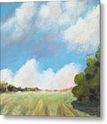 Freshly Cut Hay Field Metal Print