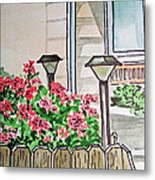 Front Yard Lights Sketchbook Project Down My Street Metal Print by Irina Sztukowski